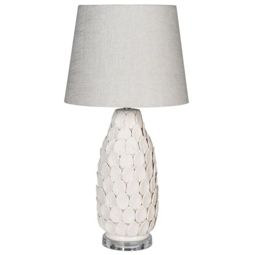 A pretty and delicate white porcelain hand finished tall lamp with a white linen shade and clear acylic base.  The lamp is decorated with hand applied porcelain leaves.