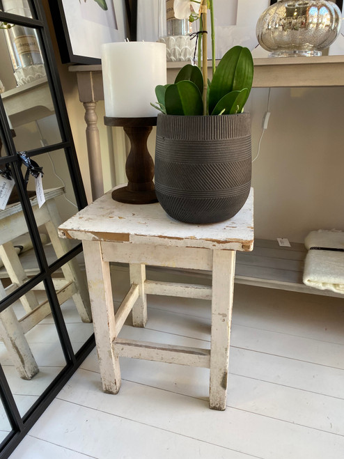 """These rustic Hugarian stools are rustic and beaten, style with a pile of soft towels in a bathroom or simply use as a plant stand.  From Bavarian Hockerl meaning """" Smallbackless kitchen stool"""", from German Hocker """"stool"""""""