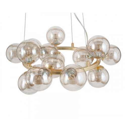 glass orb 15 light champagne gold chandelier from pacific lifestyle