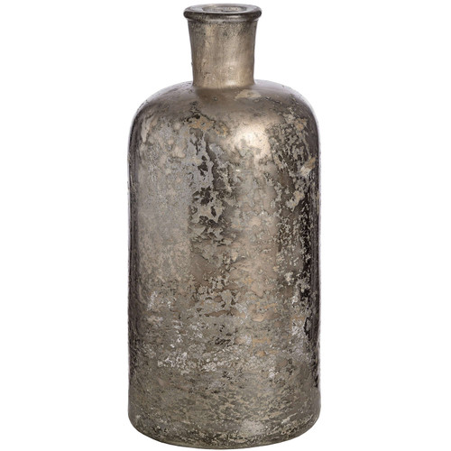 An antique silver mercury glass bottle vase suitable for single stems or a simple bunk or flowers or twigs.