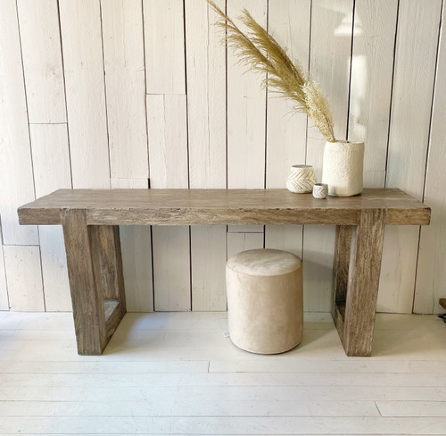 Indonesian solid wood console ouzes costal charm with its relaxed drftwood feel but with the benifits of a hardwood