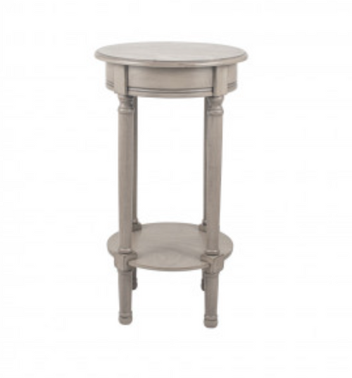 Heritage Taupe Pine Wood Round Accent Table