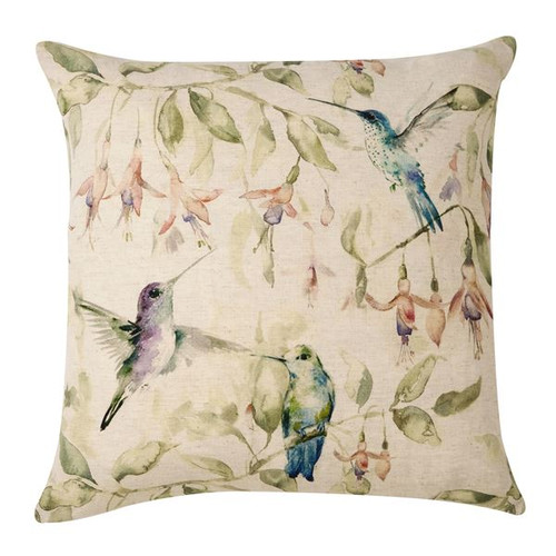 A pretty country style printed cushion with hummingbirds in subtle pastel tones on a cotton cushion with a plump feather inner