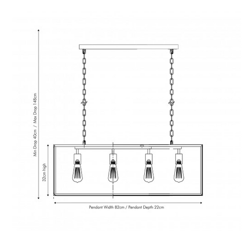 Llewellyn Silver Metal and Glass Four Bulb Pendant, industrial pendant