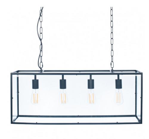 Llewellyn matt black Metal and Glass Four Bulb Pendant, industrial black frame