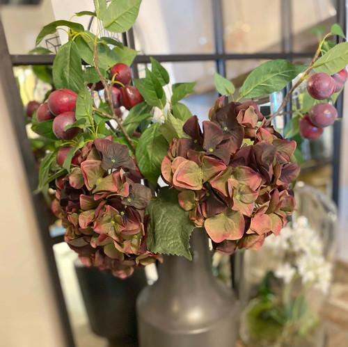 autumnal plum hydrangea faux stem