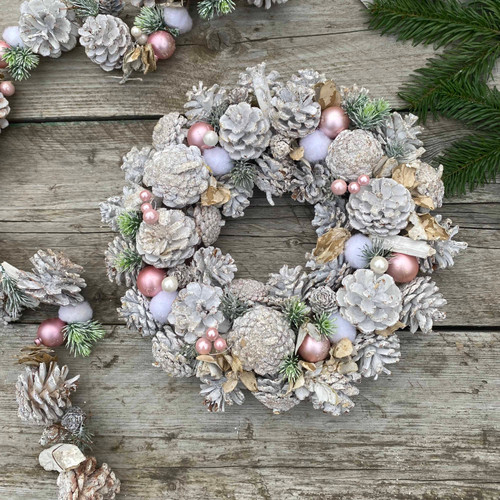 White Washed Pinecone Wreath, Pearls, Pink Baubles And Cottonballs