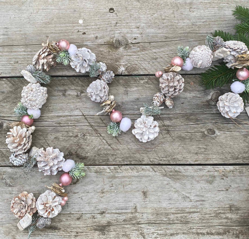 White Washed Pinecone Garland, Pearls, Pink Baubles, Cottonballs