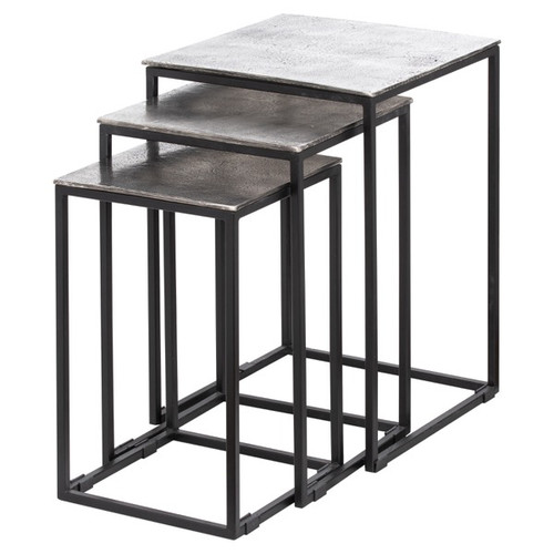 Silver And Black Nest Of Three Tables
