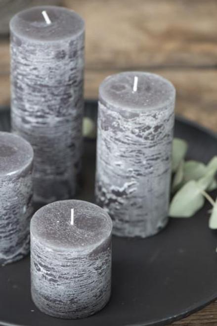 Dk Grey Rustic Pillar Candle, 4 Sizes
