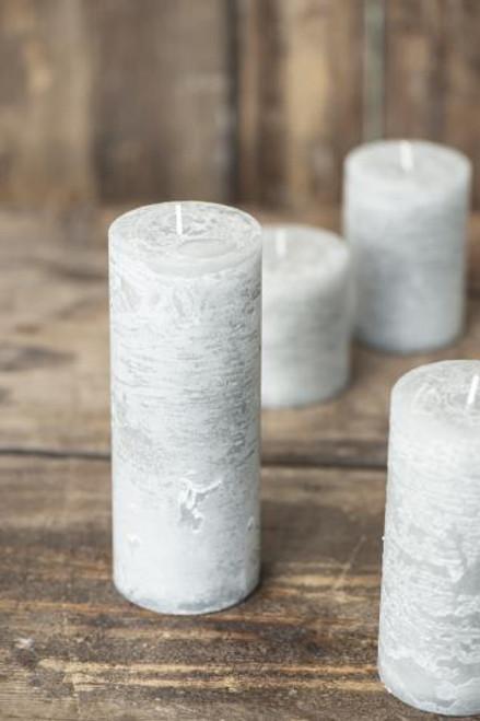 Light Grey Rustic Pillar Candle, 4 Sizes