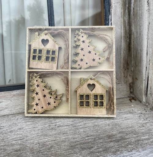 wood and glitter hanging set of 8 boxed decorations featuring trees and presents
