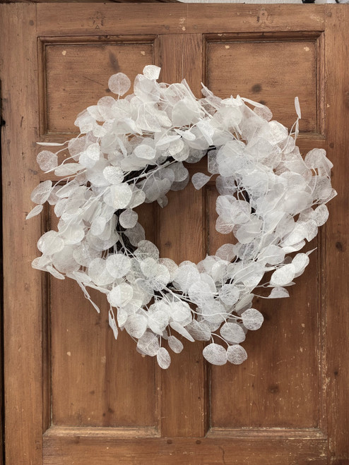 delicate frozen effect wreath with branches of honesty