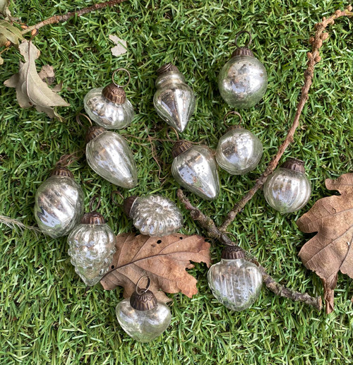mini baubles, set of twelve in bright or dull silver.