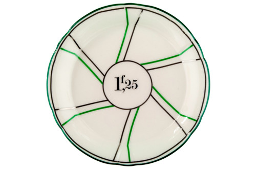 Porcelain Absinthe Coaster/Saucer, 1f25, Green/Silver, with Lines