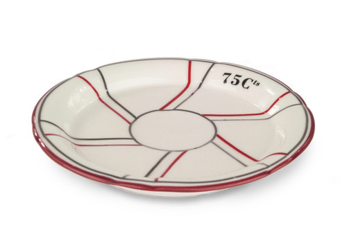 Porcelain Absinthe Saucer, 75 Cts, Cranberry/Silver, with Lines