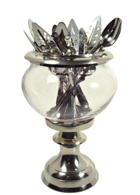 Metal and Glass Absinthe Spoon Holder, Short