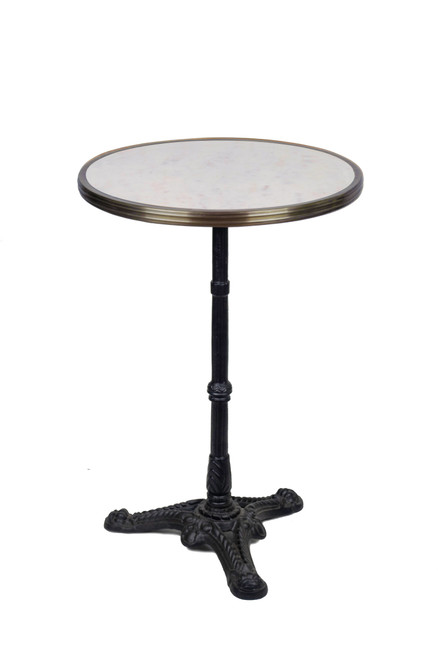 """French Bistro Table 20"""", White Marble and Iron Base"""