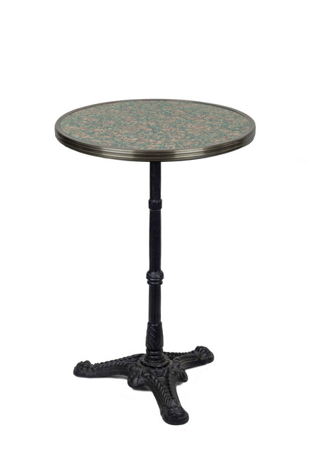 "French Bistro Table 20"", Grey/Pink Granite & Iron Base"