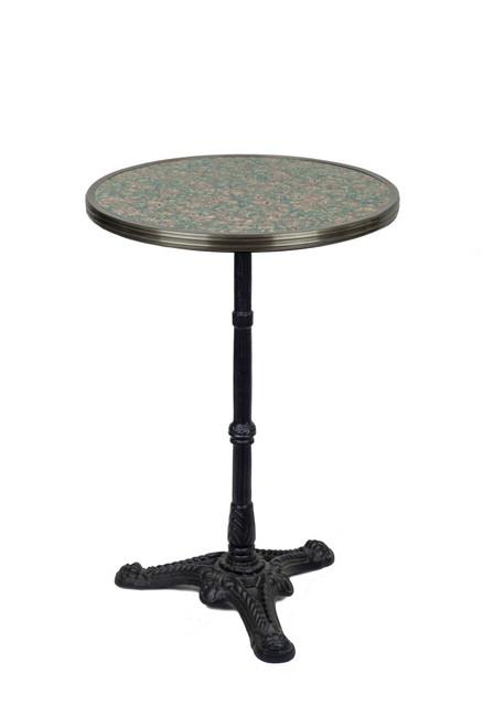 "French Bistro Table 20"", Grey/Pink Granite & Iron Base"