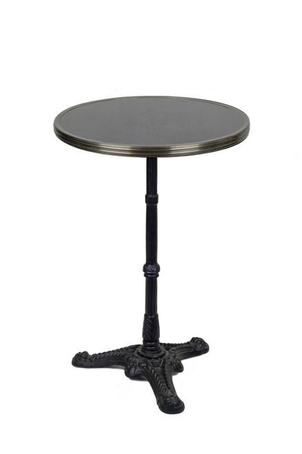 "French Bistro Table 20"", Black Granite & Iron Base"