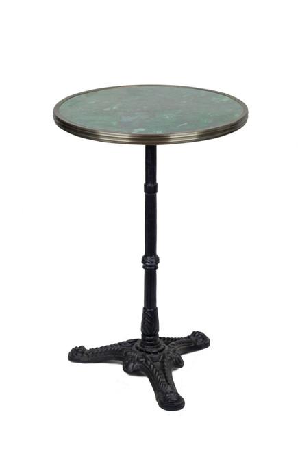 "French Bistro Table 20"", Green Granite & Iron Base"