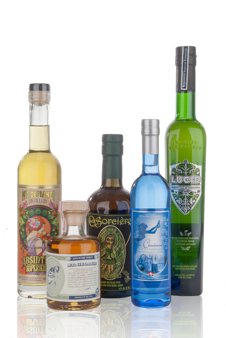 5 different absinthes from the 3 top absinthe producing countries
