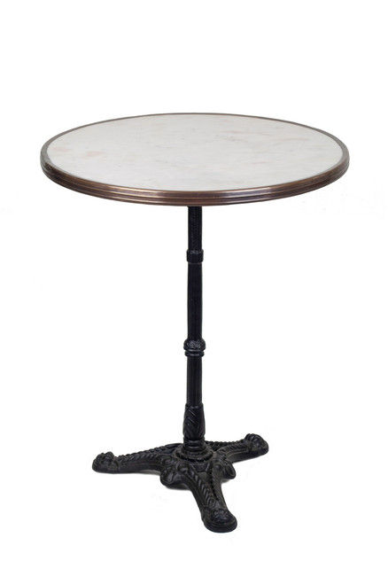 "French Bistro Table 24"", White Marble and Iron Base"