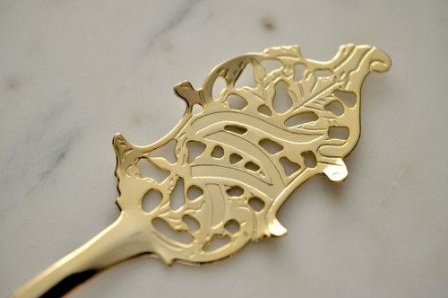 Wormwood Leaf Absinthe Spoon, Gold-Plated