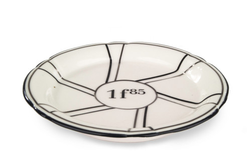 Porcelain Absinthe Coaster/Saucer, 1f85, Black/Silver, with Lines