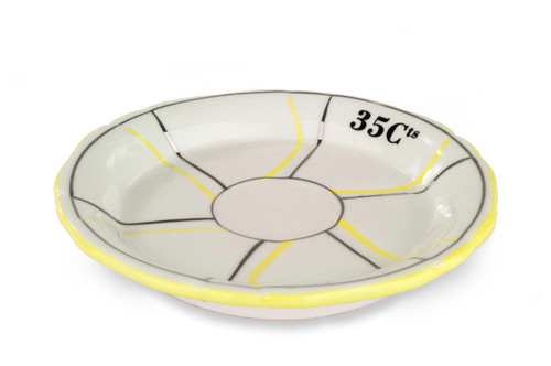 B-Stock - Porcelain Absinthe Coaster/Saucer, 35 Cts, Yellow/Silver, with Lines