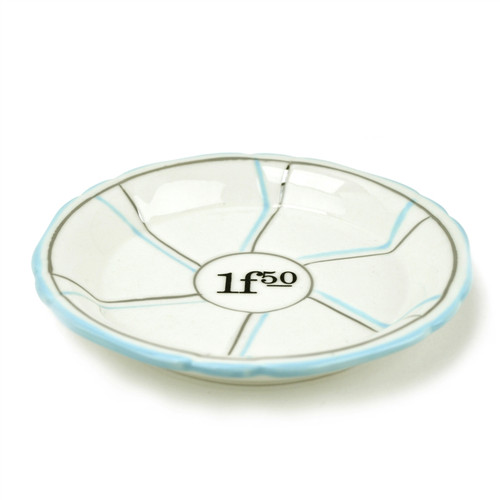 B-Stock - Porcelain Absinthe Coaster/Saucer, 1f50, Lt Blue/Silver, with Lines
