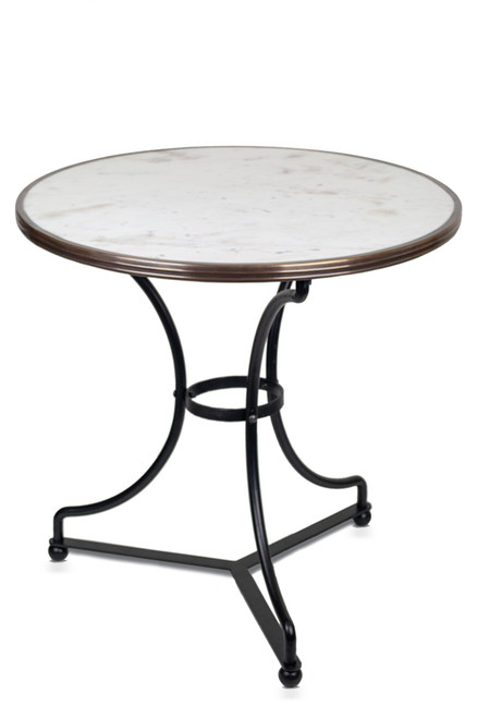 """French Bistro Table 28"""", White Marble"""