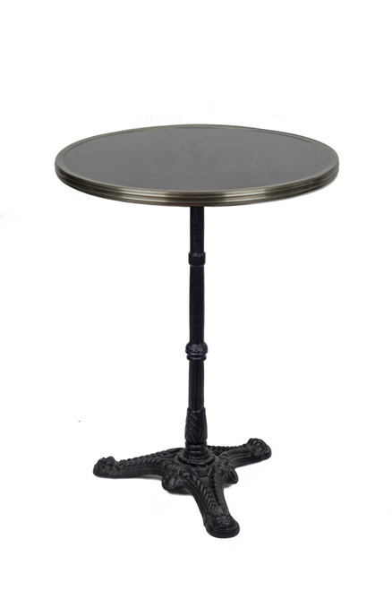 "French Bistro Table 24"", Black Granite & Iron Base"