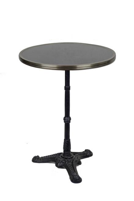 "French Bistro Table 24"", Black Granite & Iron Base"