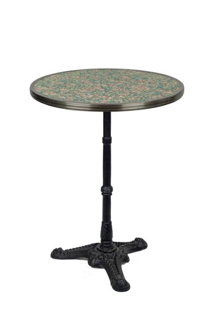 "French Bistro Table 24"", Grey/Pink Granite & Iron Base"
