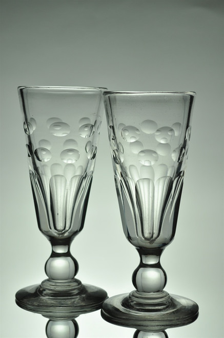 Pair of Antique Round Cuts and Facet-Cut Yvonne Absinthe Glasses