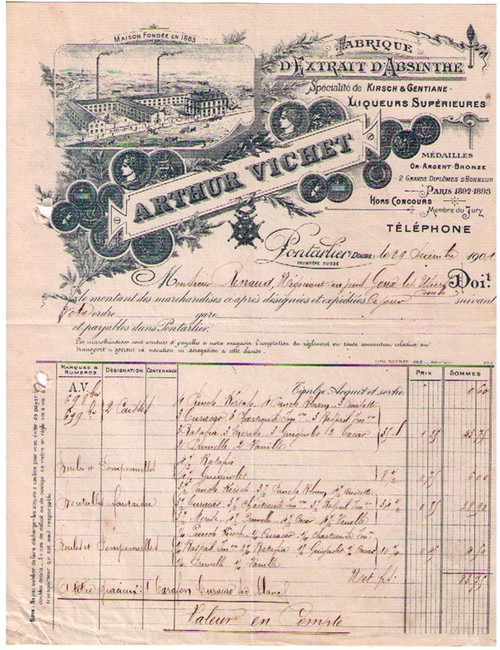 Arthur Vichet Invoice