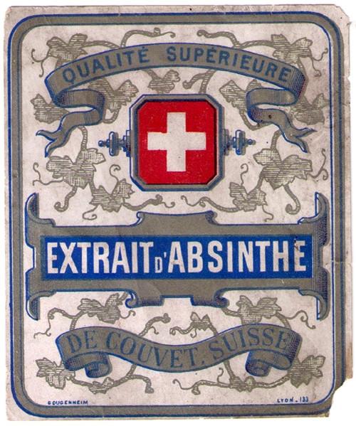 Antique Extrait d'Absinthe Swiss Bottle Label #1