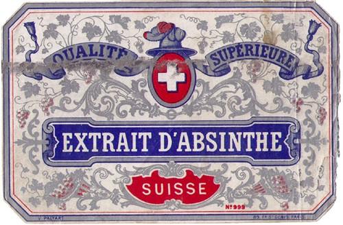 Antique Extrait d'Absinthe Swiss Bottle Label