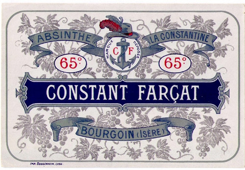 Antique Constant Farçat Absinthe Bottle Label