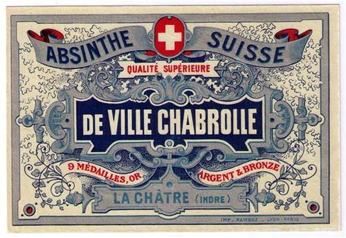 Antique De Ville Chabrolle Absinthe Bottle Label