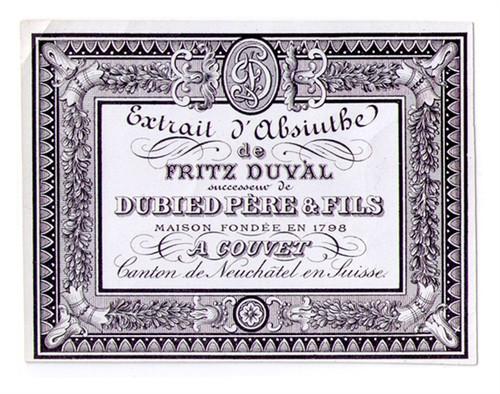 Antique Dubied Pere & Fils Absinthe Bottle Label