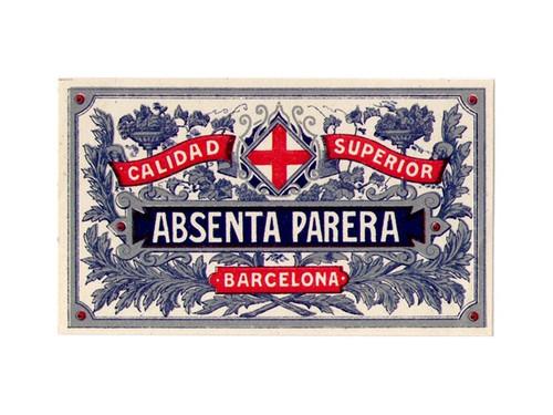 Antique Absenta Parera Mignonnette Absinthe Bottle Label