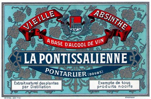 Antique La Pontissalienne Absinthe Bottle Label