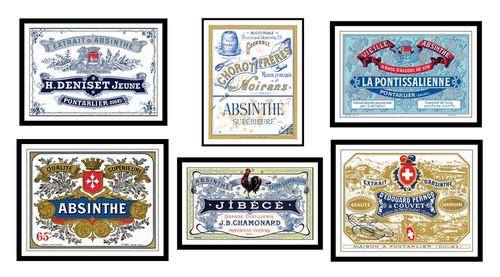 Absinthe Distillery Label Prints, Set of 6