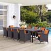 Modway Convene 11 Piece Outdoor Patio Dining Set in Espresso Orange Model: EEI-2219-EXP-ORA-SET