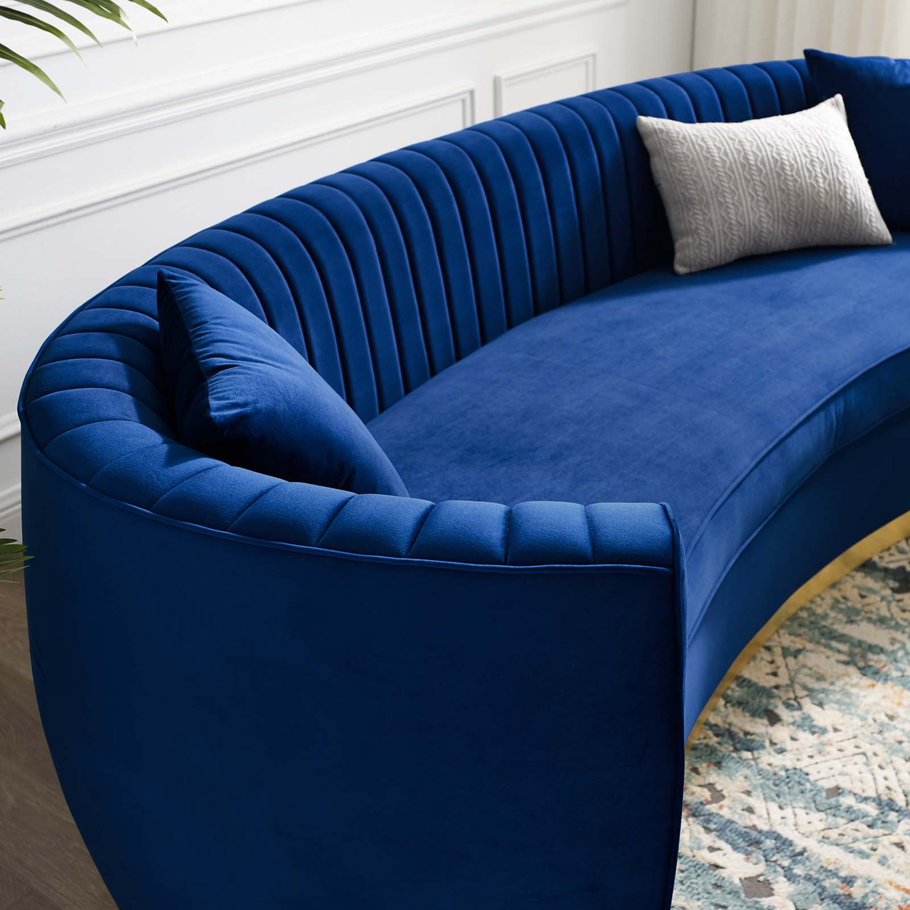 Picture of: Enthusiastic Vertical Channel Tufted Curved Performance Velvet Sofa Eei 3407 Nav