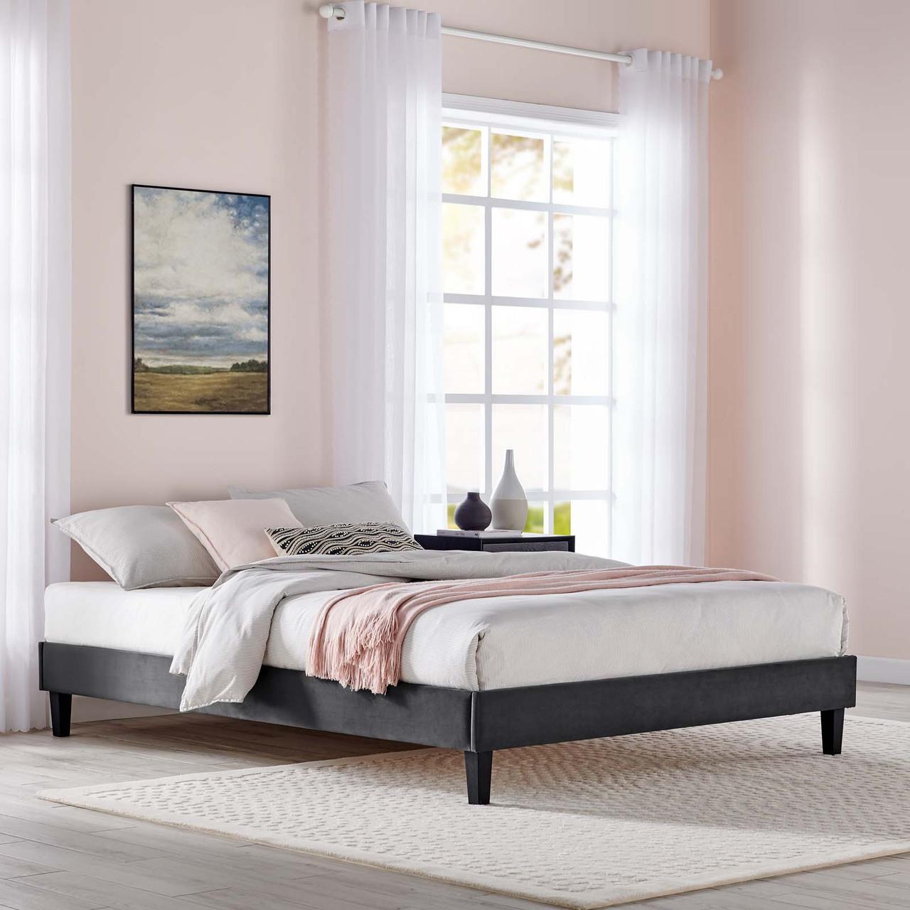 Performance Velvet Platform Bed Frame