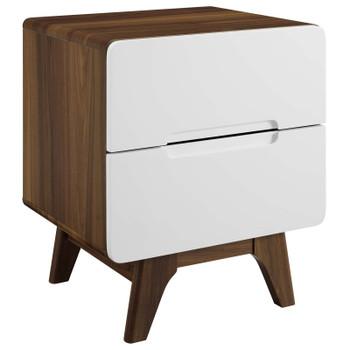 Origin Wood Nightstand or End Table MOD-6073-WAL-WHI Walnut White